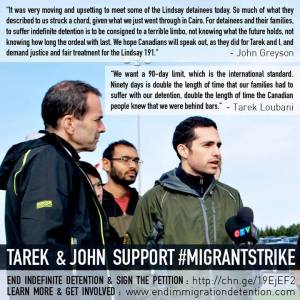 Tarek and John on Migrant Strike